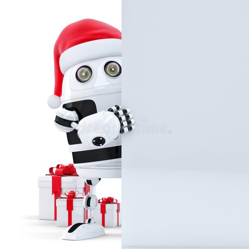3d robot Claus tenant la bannière vide illustration libre de droits