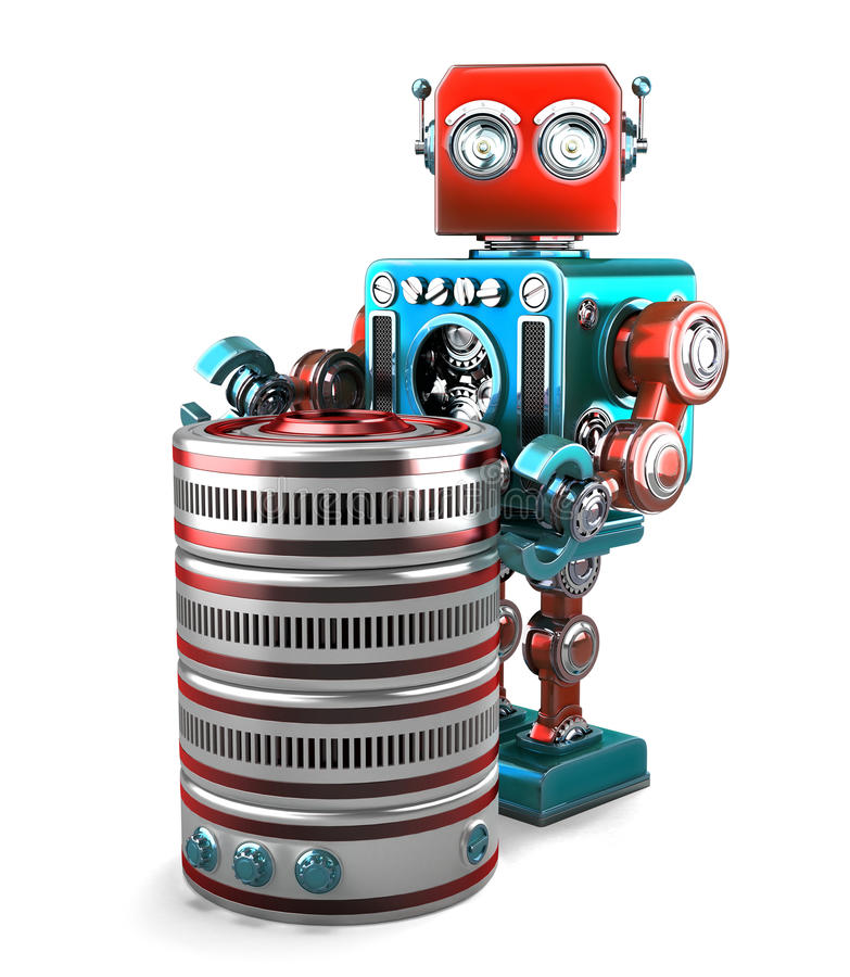 3D Robot with database. Technology concept. Isolated. Contains clipping path. 3D Retro Robot with database. Technology concept. Isolated over white. Contains vector illustration