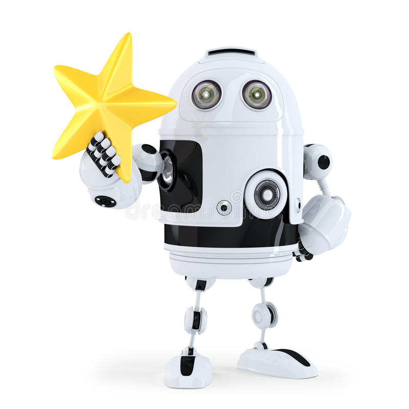 3D Robot with golden star. Isolated. Contains clipping path. stock illustration