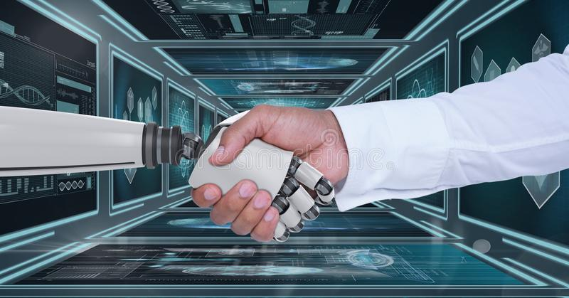 3D robot hand and person shaking hands against background with medical interfaces. Digital composite of 3D robot hand and person shaking hands against background stock photos