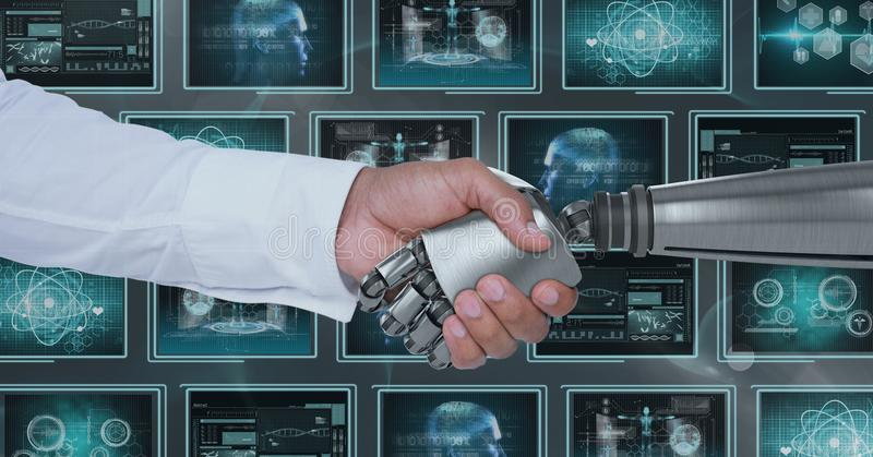 3D robot hand and person shaking hands against background with medical interfaces. Digital composite of 3D robot hand and person shaking hands against background royalty free stock photography