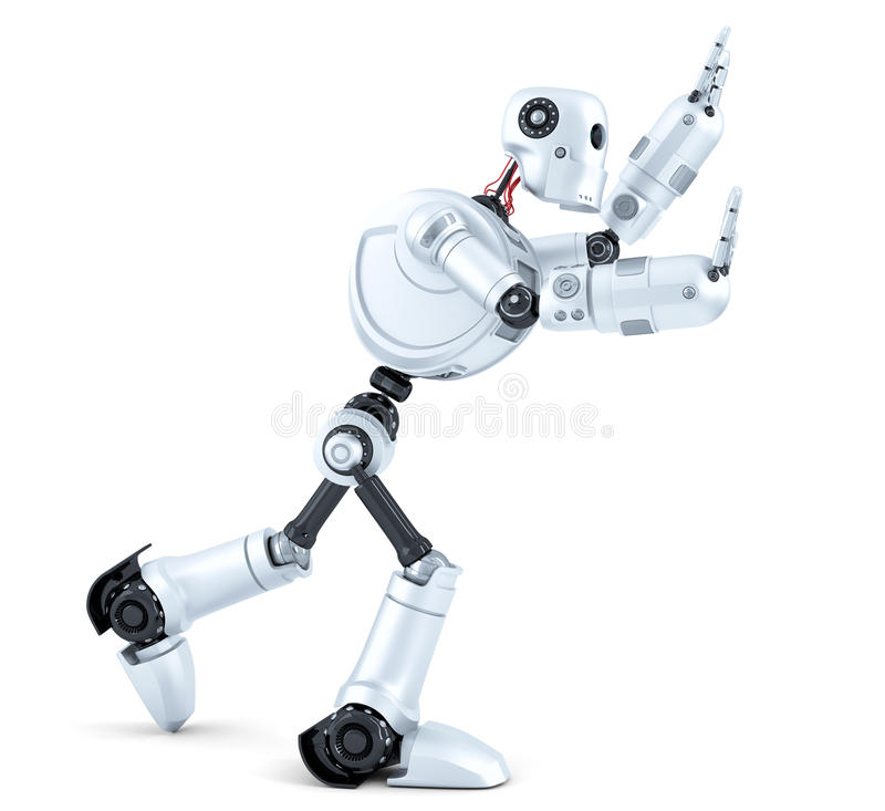 3d Robot pushing an invisible object. Isolated. Contains clipping path royalty free illustration