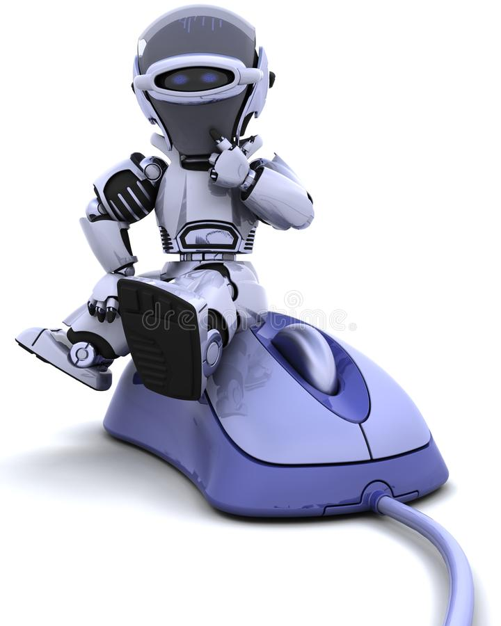 A 3D Robot seating over a corded mouse vector illustration