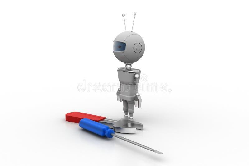 3d robot z śrubokrętem royalty ilustracja