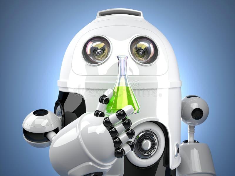 3D robot z próbną szklaną kolbą ilustracja wektor
