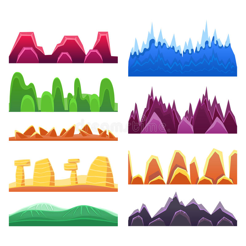 2D Rock And Mountain Profile Elements Set In Bright Color, Video Game Landscaping Of Alien Planet Background Relief. Desert Maintains And Hills Collection OF royalty free illustration
