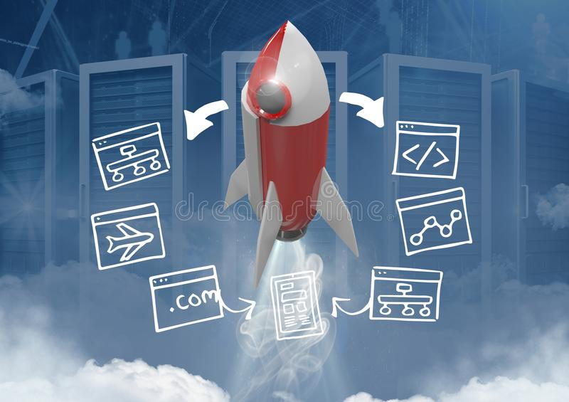 3D Rocket flying with screen computer drawings graphics vector illustration