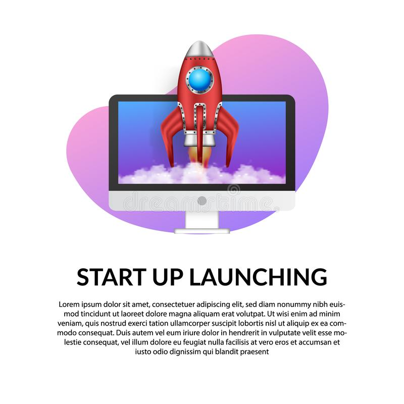 3D rocket launch with computer illustration concept for business start up royalty free illustration