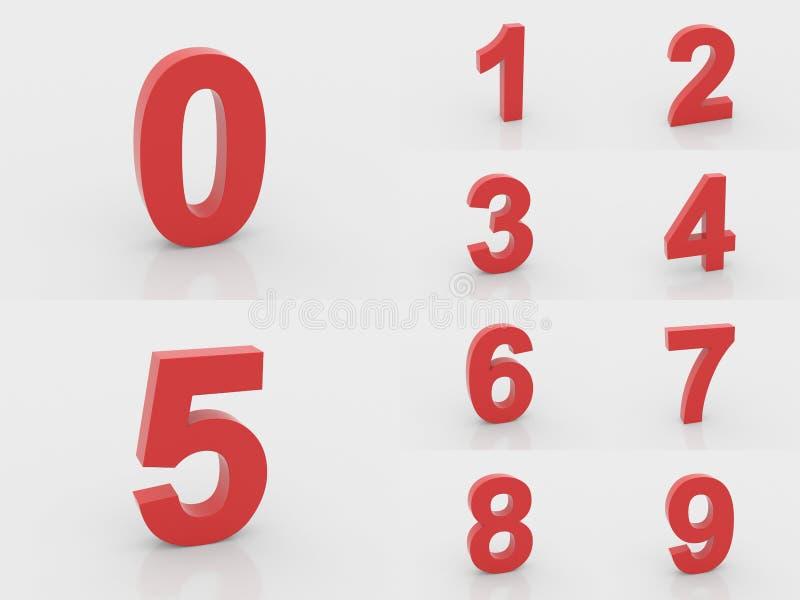 3d rode aantallen van 0 tot 9 stock illustratie