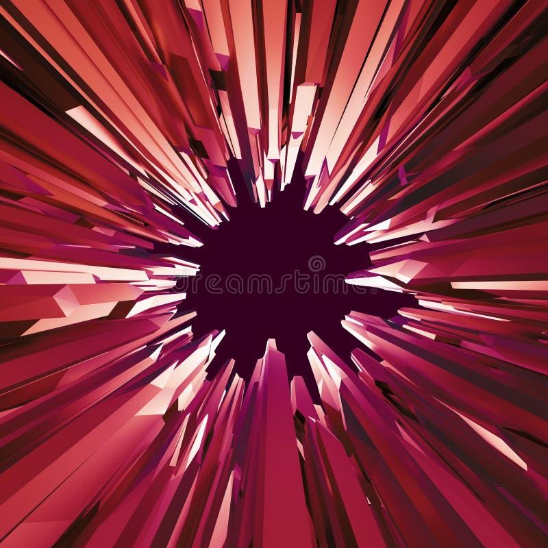 3d rode achtergrond van het kristalgat, gekristalliseerd voorwerp, abstract Cr royalty-vrije illustratie