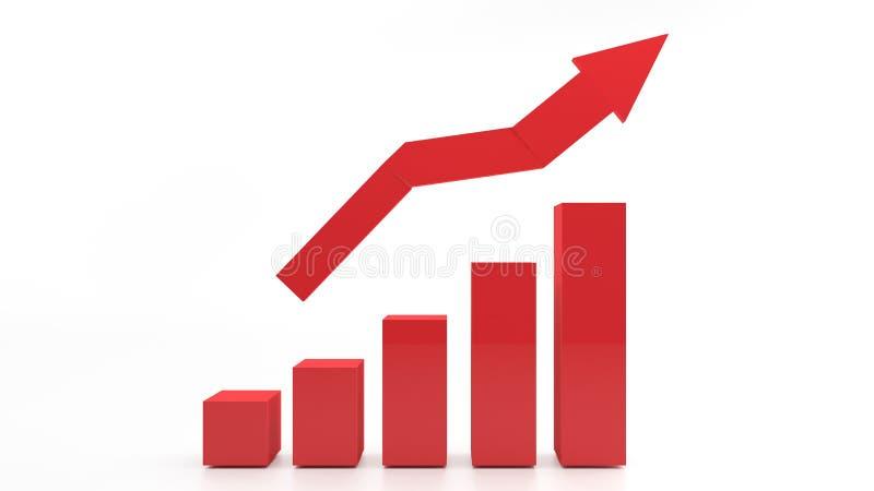 3d RODE grafiek die stijging van winsten of inkomens tonen vector illustratie
