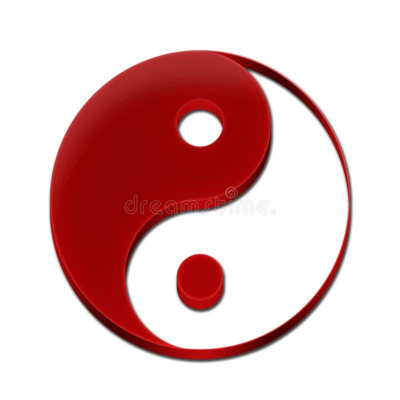 3D Rode Kleur van Yin Yang Symbol royalty-vrije stock fotografie