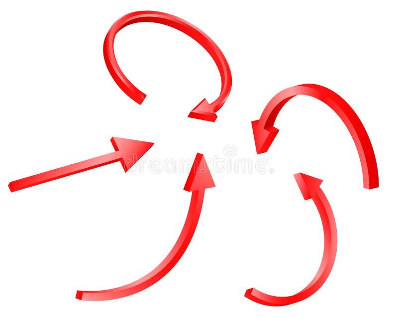 3d rode pijlreeks vector illustratie