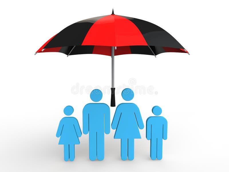 3d rodzina pod parasolem royalty ilustracja