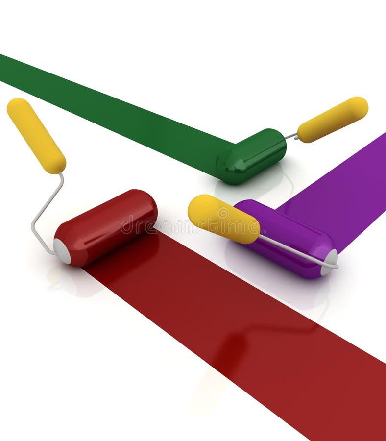 3d rollenborstels stock illustratie