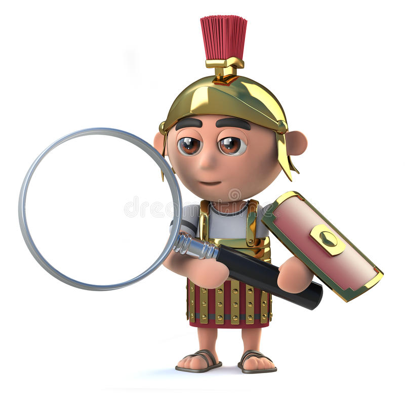 3d Roman Centurion has a magnifying glass royalty free illustration