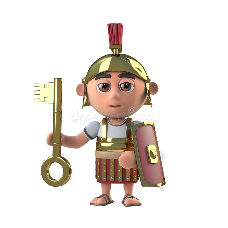 3d Roman centurion soldier has a gold key. 3d render of a Roman centurion soldier holding a gold key vector illustration