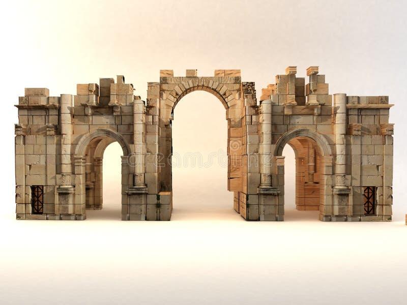 3D Roman Gate ilustração stock