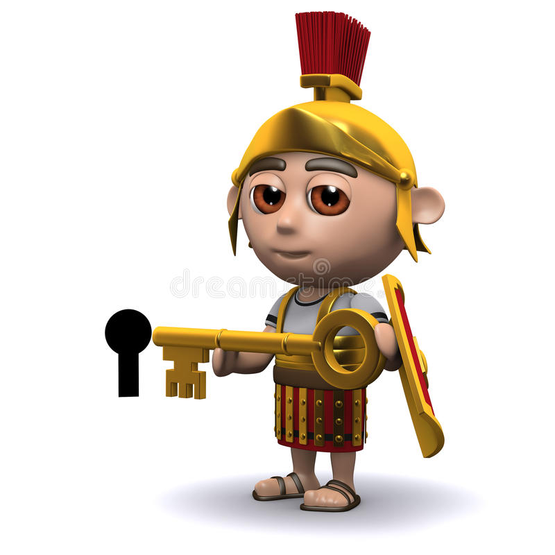 3d Roman soldier has a gold key. 3d render of a Roman soldier holding a gold key to a keyhole vector illustration