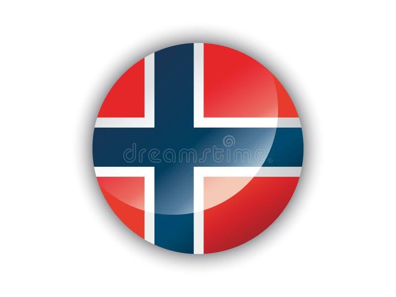 3D Ronde Vlag van Noorwegen vector illustratie