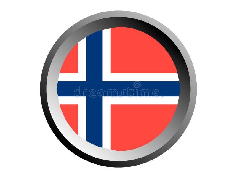 3D Ronde Vlag van Noorwegen stock illustratie