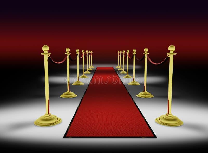 3d: Rood Tapijt met Rode Achtergrond stock illustratie