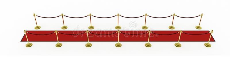 3d: Rood Tapijt met Stangen voor Filmpremière vector illustratie