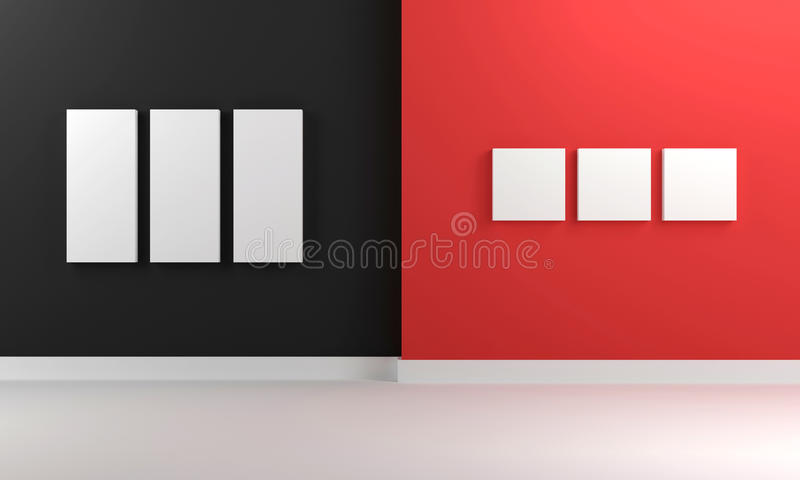 Download 3D Room In Red And Black With Empty Canvas Stock Illustration - Illustration: 33280871