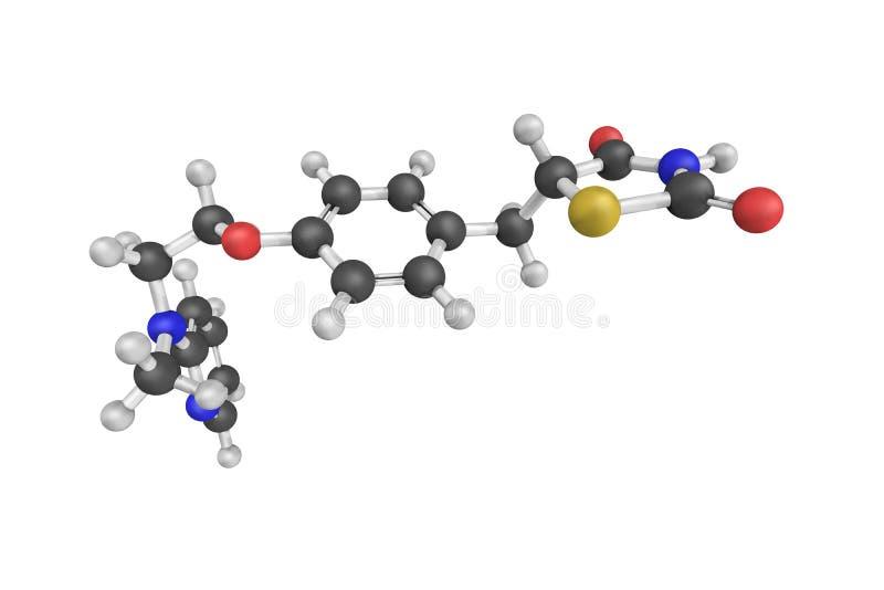 3d Rosiglitazone结构,一种抗糖尿药物 库存例证