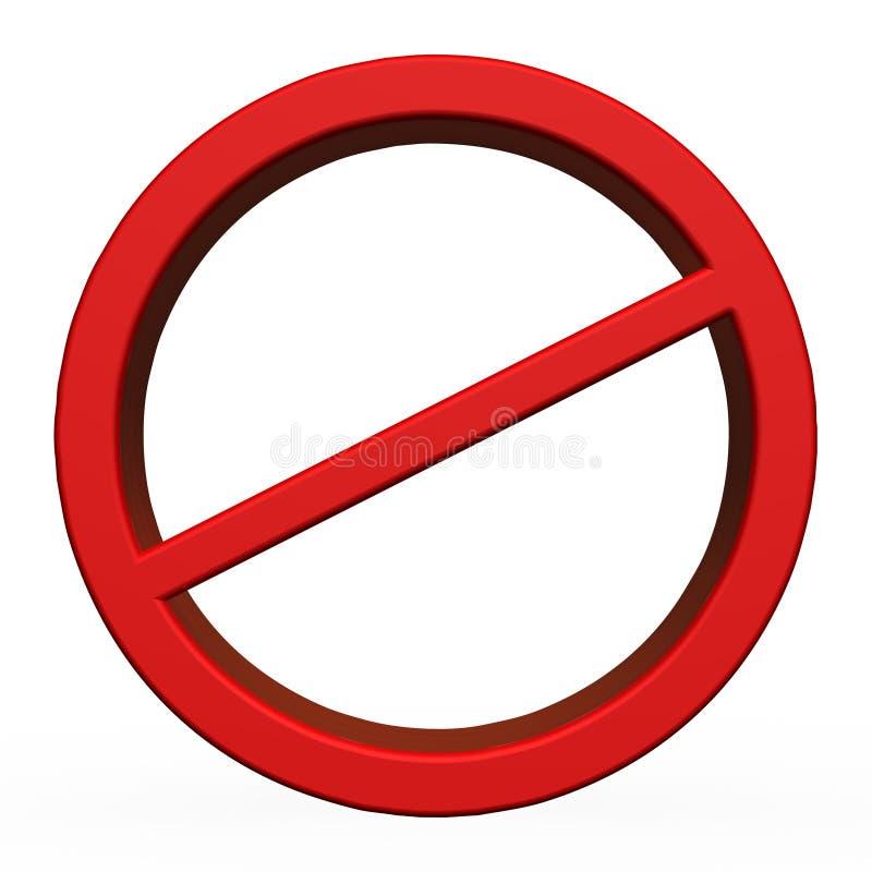 3D rosso nessun segno fotografia stock