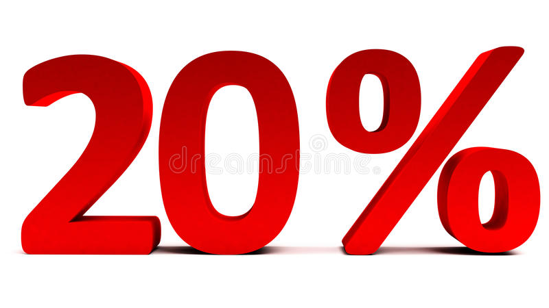 3D rosso 20 per cento del testo su bianco illustrazione vettoriale