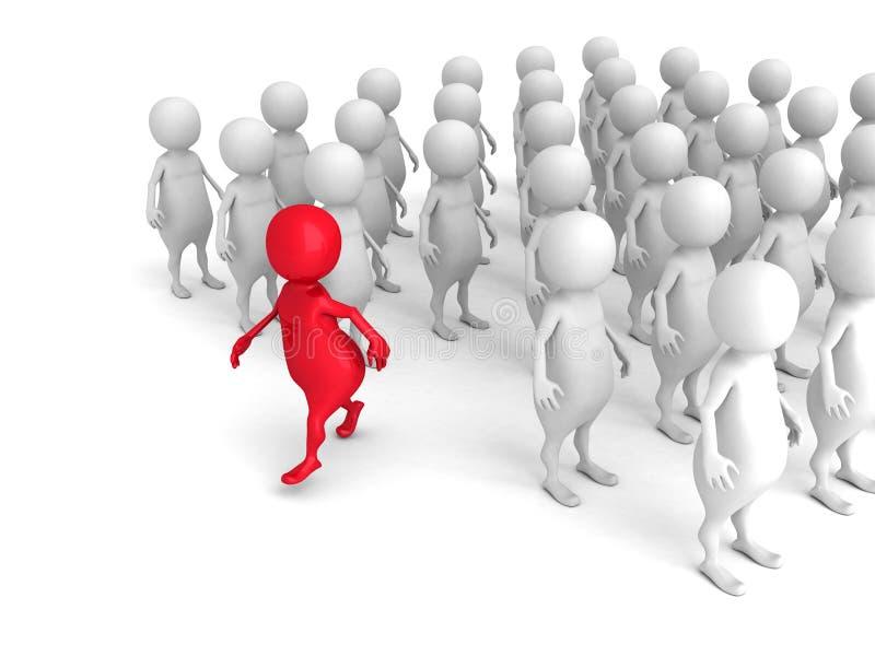 3d rosso Person Out From Crowd Concetto di direzione di individualità illustrazione vettoriale