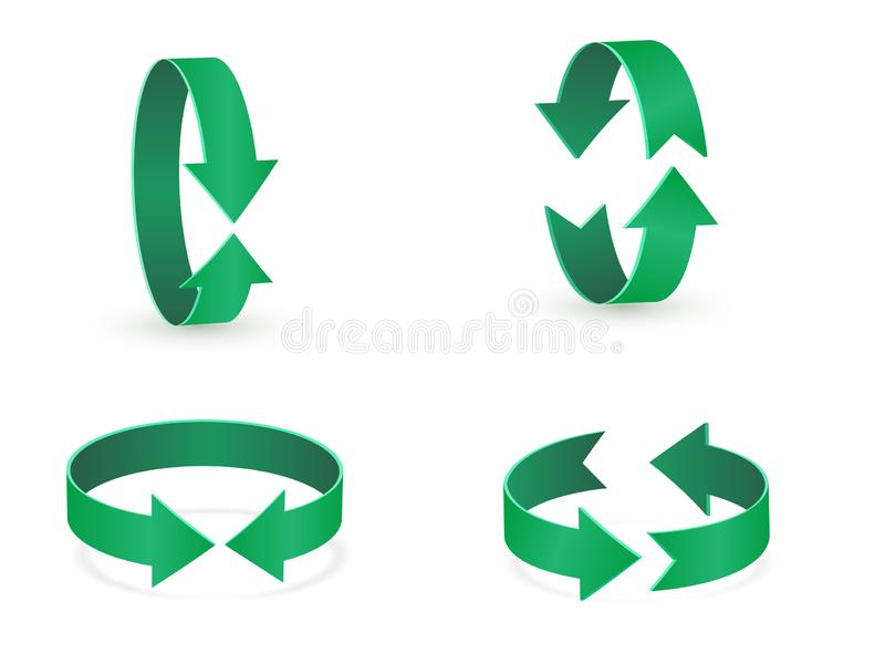 3D rotation sign green icon. 360 rotation arrows Sign. vector illustration