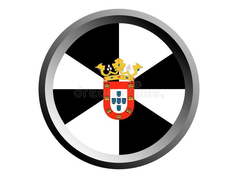 3D Round flaga Ceuta ilustracji