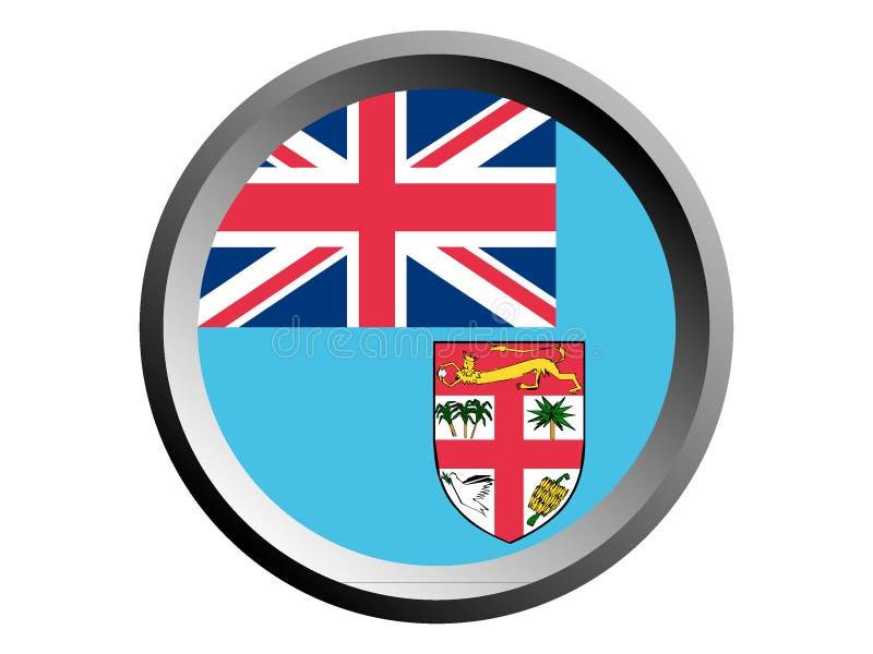 3D Round flaga Fiji ilustracja wektor