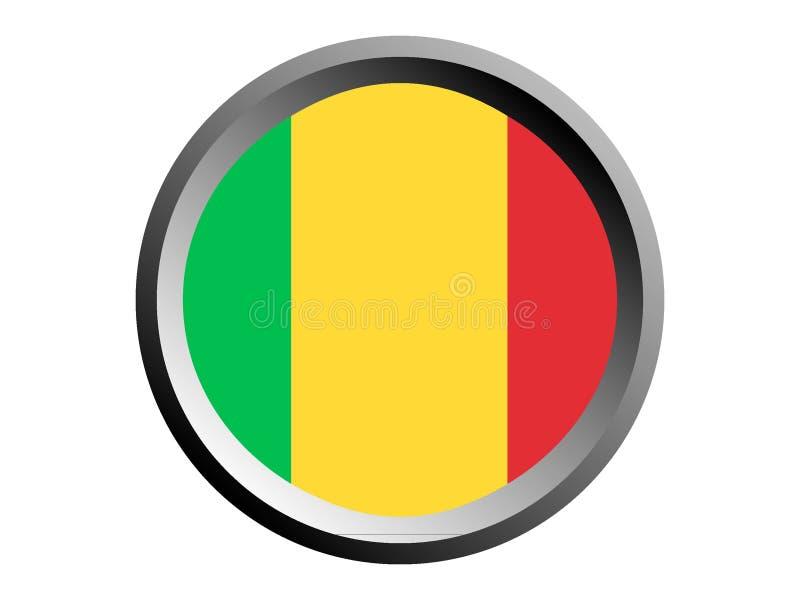 3D Round flaga Mali ilustracja wektor