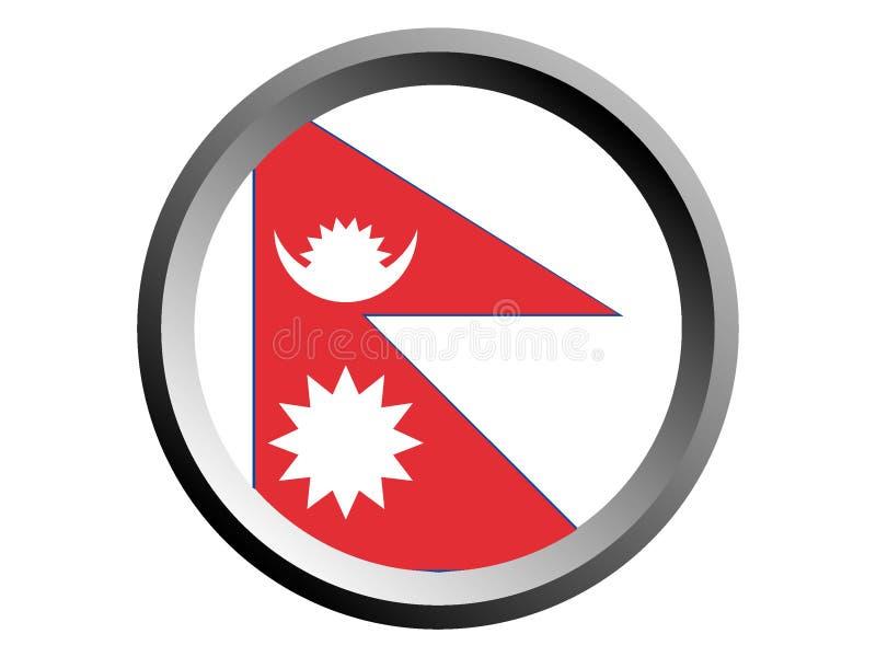 3D Round flaga Nepal royalty ilustracja