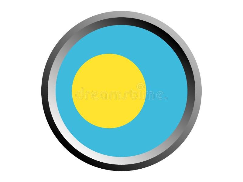 3D Round flaga Palau ilustracja wektor
