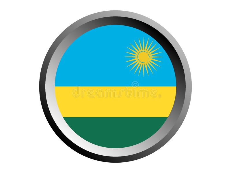 3D Round flaga Rwanda royalty ilustracja