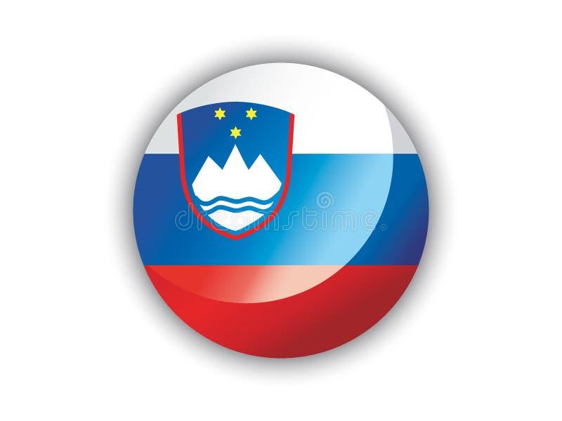 3D Round flaga Slovenia ilustracji
