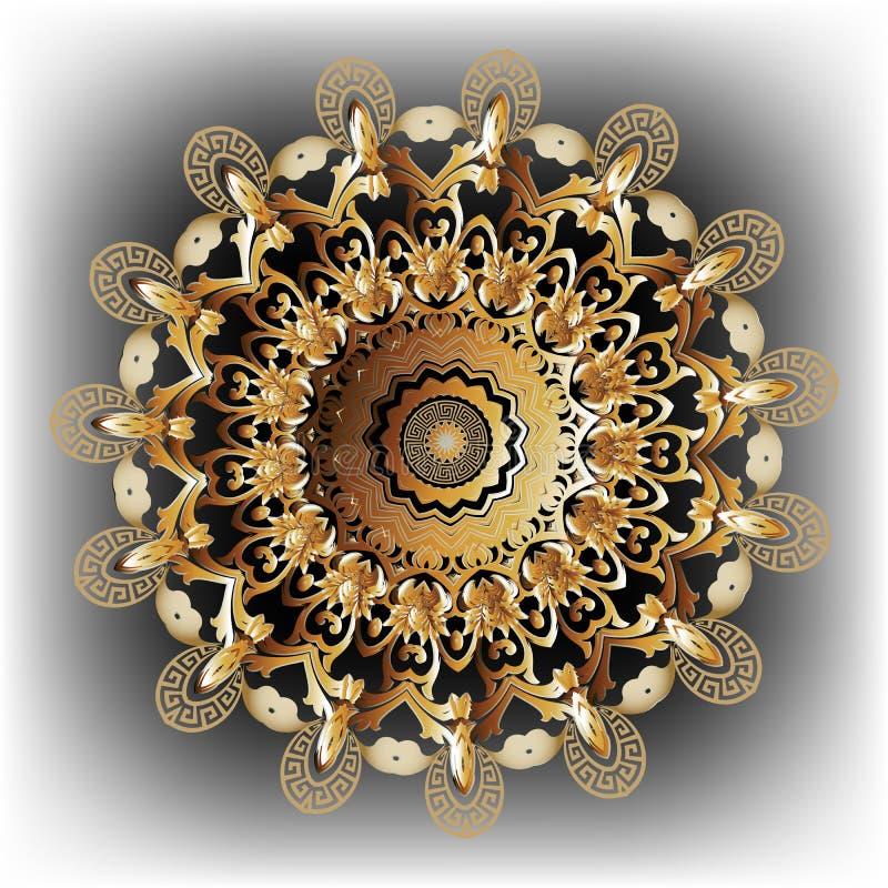 3d round mandala Barokowy wektorowy wz?r ornamentacyjny kwiecisty t?a Geometryczna grka klucza meander?w okr?gu rama Rocznika orn ilustracja wektor