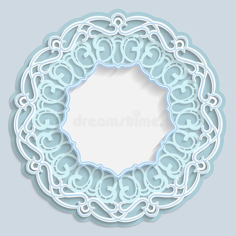 3D round rama dla fotografii obrazka lub, winieta z ornamentami, koronki granica, bareliefu ornament, openwork wzór, szablon royalty ilustracja
