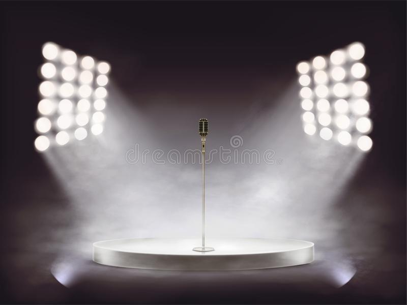Realistic stage with microphone and smoke. 3D round white podium with metallic microphone illuminated by white beams of spotlights, isolated on dark background royalty free stock photography