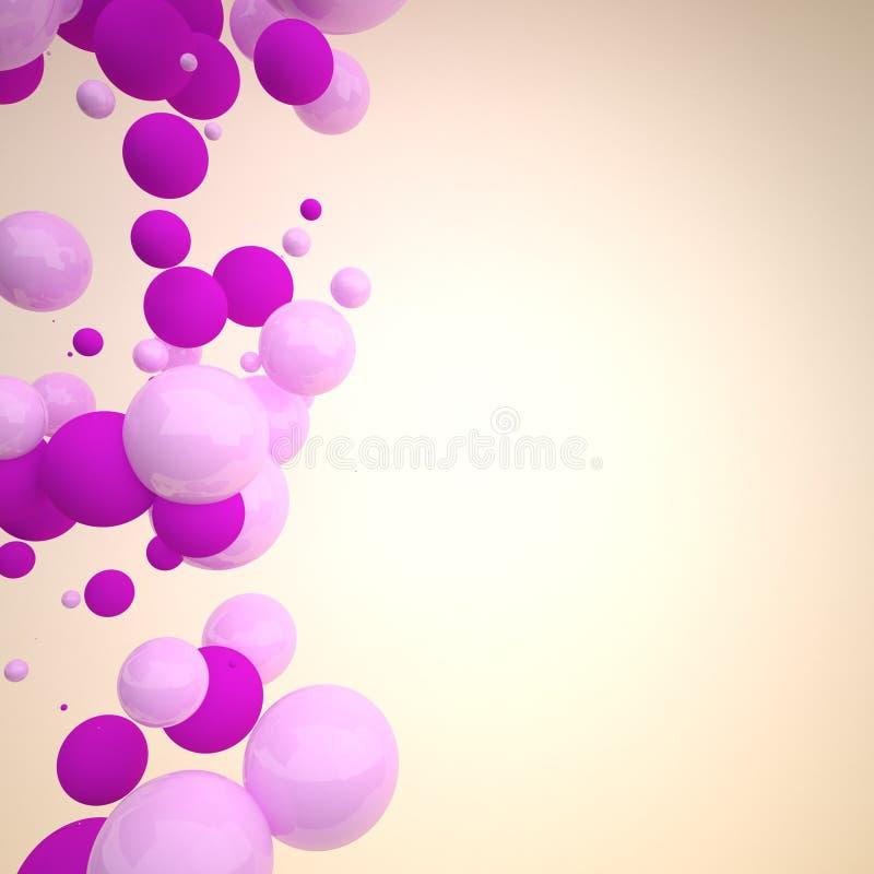 3D roze ballen abstracte achtergrond stock illustratie