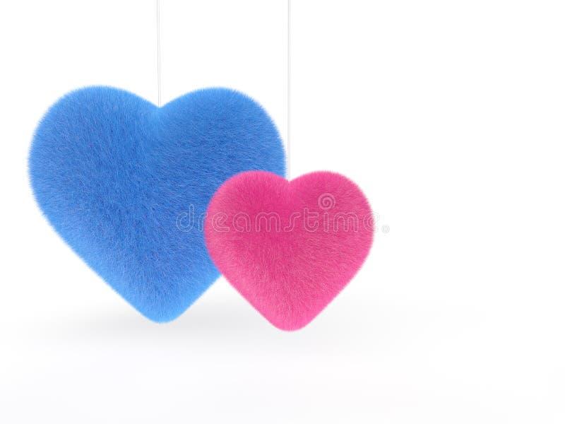 3d roze en Blauwe pluizige harten stock illustratie