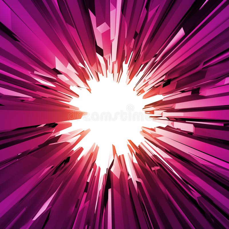 3d roze kristallenachtergrond, gekristalliseerd voorwerp, abstract robijnrood creatief behang, rond wit gat stock illustratie