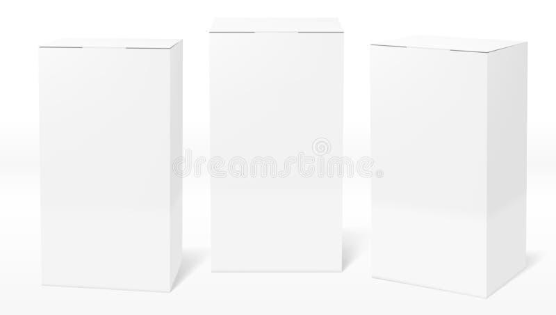 3D Rozjaśniają Białych Pustych Kartonowych pakunków pudełka Ustawiających ilustracji
