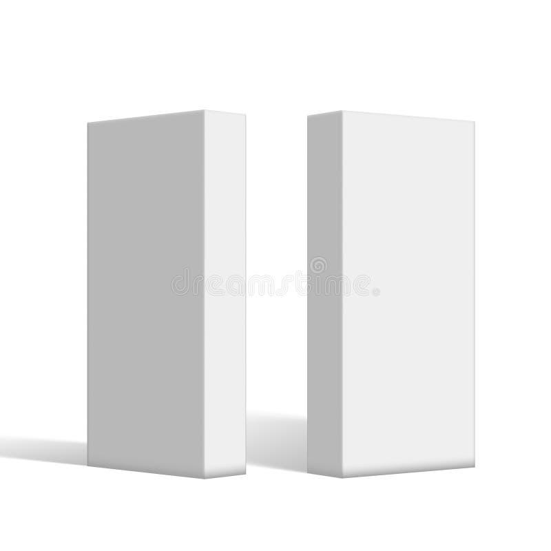 3D Rozjaśniają Białych Pustych Kartonowych pakunków pudełka Ustawiających ilustracja wektor