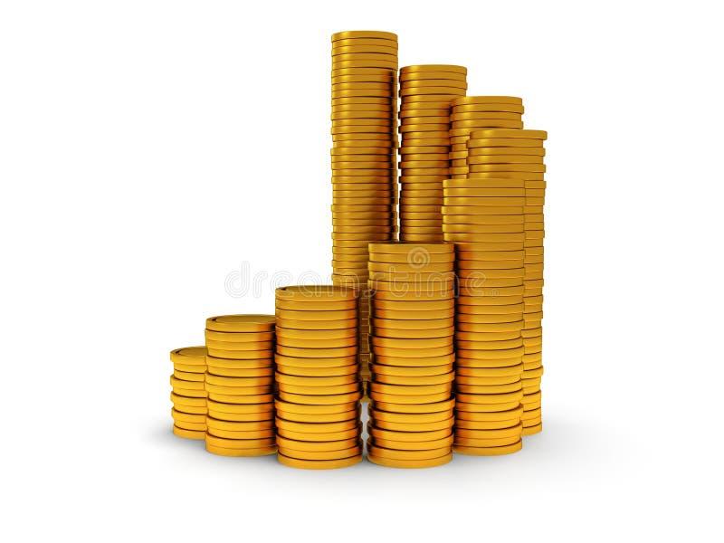 3D rozkład złote monety jako ślimakowaty schody royalty ilustracja