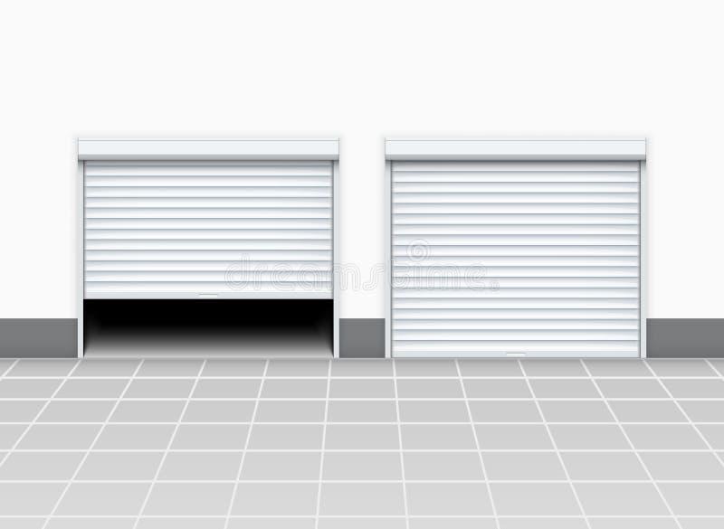 D?rr f?r lager- eller garagerullslutare Ing?ngen f?r fabriksrulld?rren, golvbyggnadslager shoppar inre vektor illustrationer
